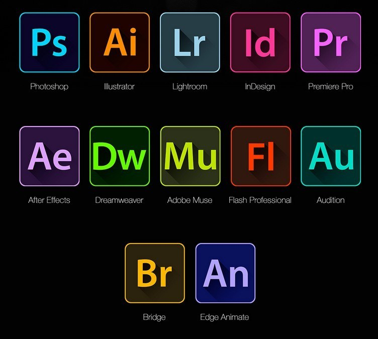 Icons of Adobe softwares